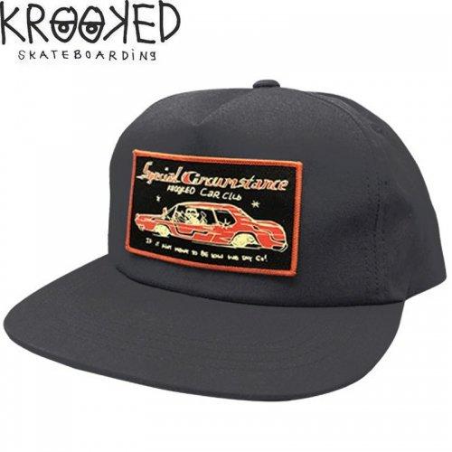 【KROOKED クルックド スケボー キャップ】CAR CLUB SNAPBACK CAP チャコールグレー NO13