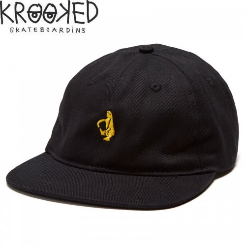【KROOKED クルックド スケボー キャップ】SHMOLO EMBLEM STRAPBACK CAP ブラック NO14
