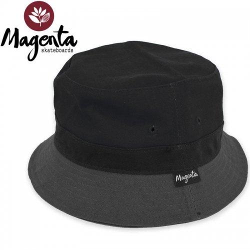 【MAGENTA マゼンタ スケボー ハット】LABEL BUCKET HAT ブラックxグレー NO14