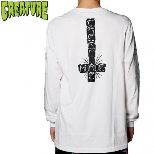 【CREATURE クリーチャー スケボー ロングTシャツ】HORDE CROSS L/S TEE ホワイト NO11