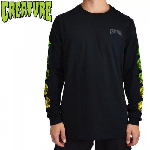 【CREATURE クリーチャー スケボー ロングTシャツ】FIEND WEB L/S ブラック NO14