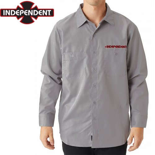 【インディペンデント INDEPENDENT ワークシャツ】GRINDSTONE L/S WORK SHIRT グレー NO3