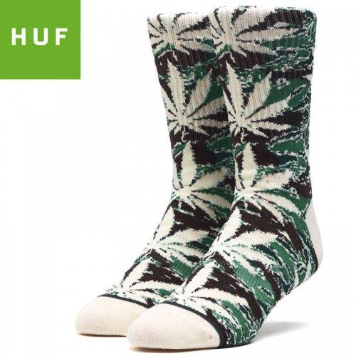 【HUF ハフ スケボー ソックス】靴下 CAMO PLANTLIFE SOCKS マティーニオリーブ NO75