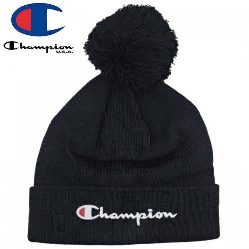 【CHAMPION チャンピオン ニットキャップ】SCRIPT POM BEANIE HAT ブラック NO11