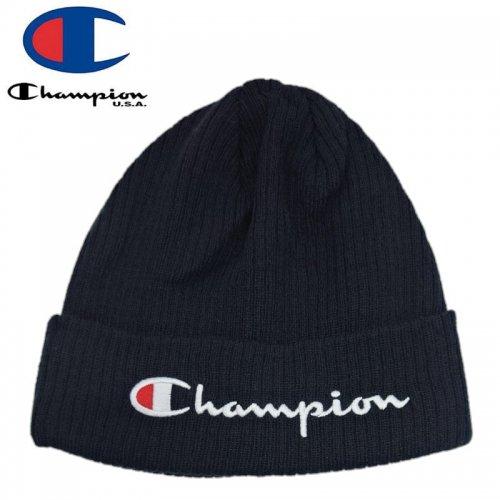 【CHAMPION チャンピオン ニットキャップ】SCRIPT BEANIE HAT ブラック NO12