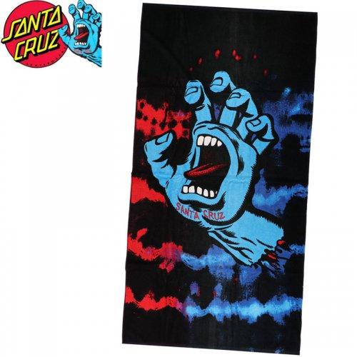 【サンタクルーズ SANTA CRUZ タオル】SCREAMING HAND TOWEL TIE DYE ブラック ビーチタオル スクリーミングハンド NO11