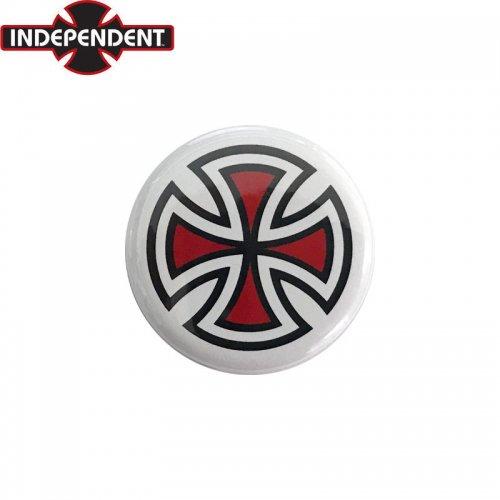 【INDEPENDENT インディペンデント スケボー バッヂ】1-1/4 BUTTON 缶バッチ IRON CROSS 3cm ホワイト/レッド NO1