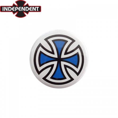 【INDEPENDENT インディペンデント スケボー バッヂ】1-1/4 BUTTON 缶バッチ IRON CROSS 3cm ホワイト/ブルー NO3