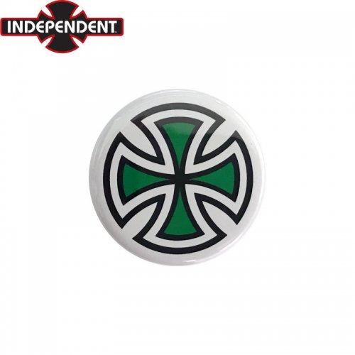 【INDEPENDENT インディペンデント スケボー バッヂ】1-1/4 BUTTON 缶バッチ IRON CROSS 3cm ホワイト/グリーン NO4