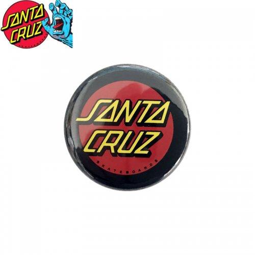 【サンタクルーズ SANTA CRUZ スケボー バッヂ】1-1/4 BUTTON 缶バッチ DOT LOGO 3cm ブラック/レッド NO6
