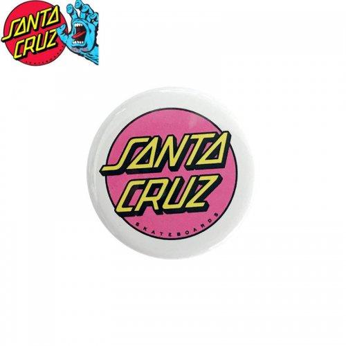 【サンタクルーズ SANTA CRUZ スケボー バッヂ】1-1/4 BUTTON 缶バッチ DOT LOGO 3cm ホワイト/ピンク NO7
