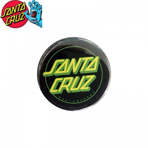 【サンタクルーズ SANTA CRUZ スケボー バッヂ】1-1/4 BUTTON 缶バッチ DOT LOGO 3cm ブラック/ライム NO10