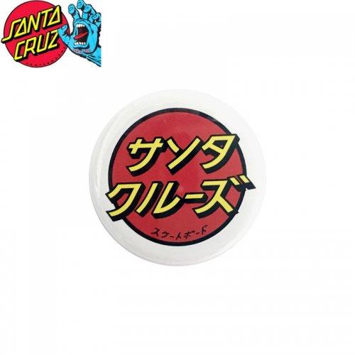 【サンタクルーズ SANTA CRUZ スケボー バッヂ】1-1/4 BUTTON 缶バッチ JAPANESE DOT 3cm ホワイト/レッド NO13