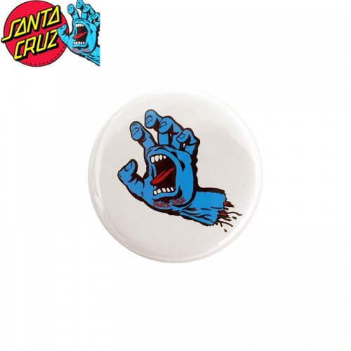 【サンタクルーズ SANTA CRUZ スケボー バッヂ】1-1/4 BUTTON 缶バッチ SCREAMING HAND 3cm ホワイト/ブルー NO14