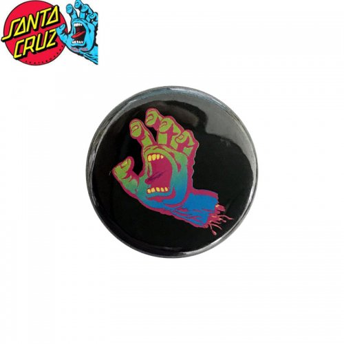 【サンタクルーズ SANTA CRUZ スケボー バッヂ】1-1/4 BUTTON 缶バッチ PASTEL SCREAMING HAND 3cm ブラック/マルチ NO17