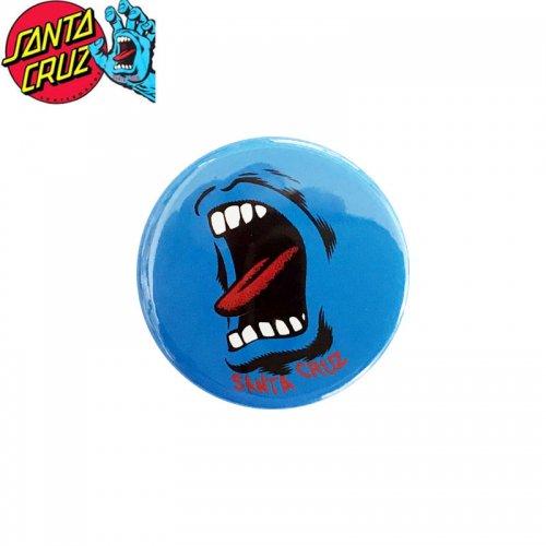 【サンタクルーズ SANTA CRUZ スケボー バッヂ】1-1/4 BUTTON 缶バッチ SCREAMING WALL 3cm ブルー NO18
