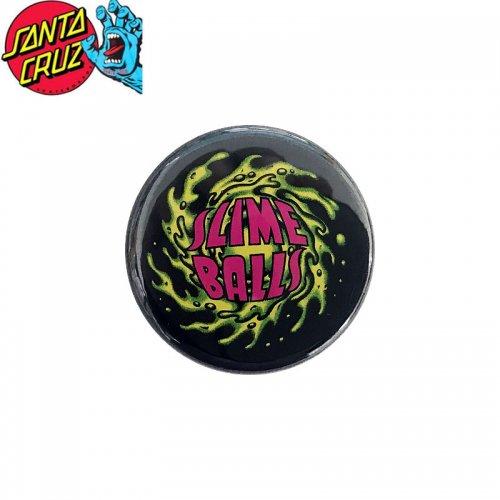 【サンタクルーズ SANTA CRUZ スケボー バッヂ】1-1/4 BUTTON 缶バッチ SLIME BALL 3cm ブラック/マルチ NO20