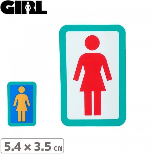 【GIRL ガールスケートボード STICKER ステッカー】BOX LOGO STICKER 5.4cm x 3.5cm NO124