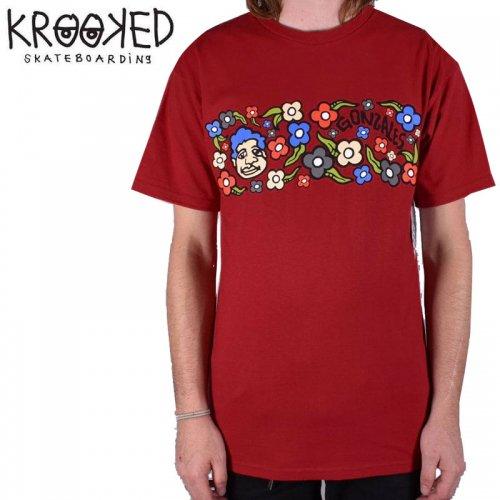 【KROOKED クルックド スケートボード Tシャツ】SWEATPANTS S/S TEE【カーディナルレッド】NO81