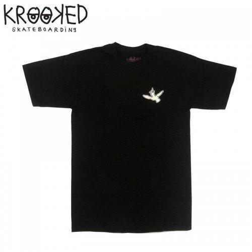 【KROOKED クルックド スケートボード Tシャツ】FLIPPED BIRDS S/S TEE【ブラック】NO85