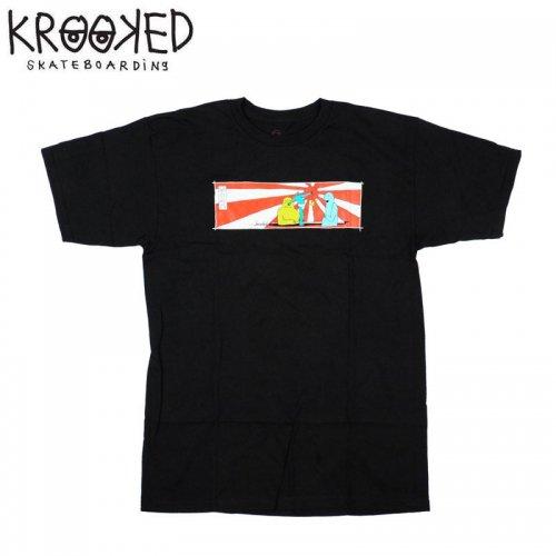 半額セール【KROOKED クルックド スケートボード Tシャツ】GONZ RISING SON S/S TEE【ブラック】NO88