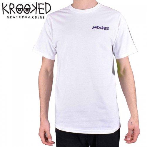 半額セール【KROOKED クルックド スケートボード Tシャツ】MOON SMILE S/S TEE【ホワイト】NO98