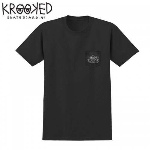 半額セール【KROOKED クルックド スケートボード Tシャツ】ARKETYPE POKET S/S TEE【ブラック】NO100