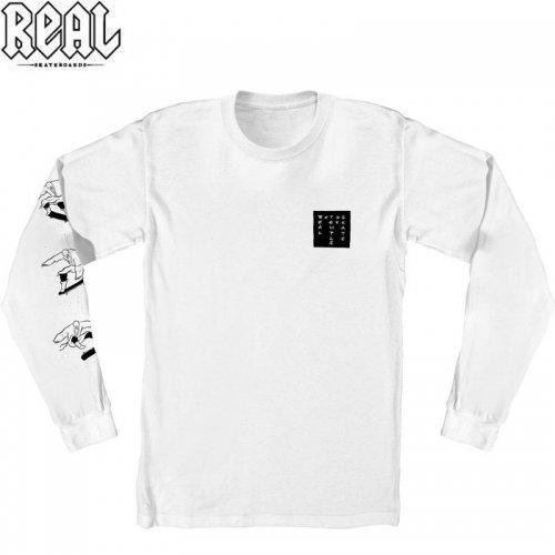 半額セール【REAL リアル スケートボード  ロング Tシャツ】ZODIAC TEMPLE L/S TEE【ホワイト】NO2