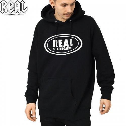 半額セール【REAL リアル スケートボード パーカー】OVAL PULLOVER HOODIE【ブラック】NO6
