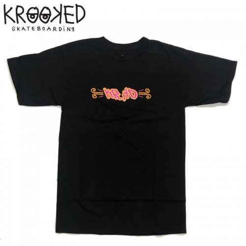 半額セール【KROOKED クルックド スケートボード Tシャツ】FLASH BACK S/S TEE【ブラック】NO103