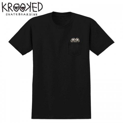 半額セール【KROOKED クルックド スケートボード Tシャツ】STRAIGHT EYES POCKET S/S TEE【ブラック】NO105