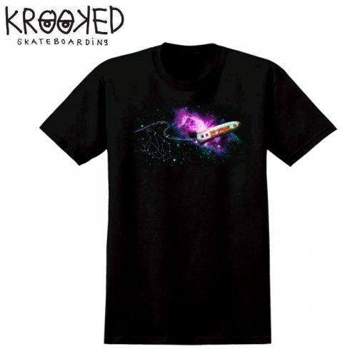 半額セール【KROOKED クルックド スケートボード Tシャツ】INTERSTELLAR PREMIUM S/S TEE【ブラック】NO106