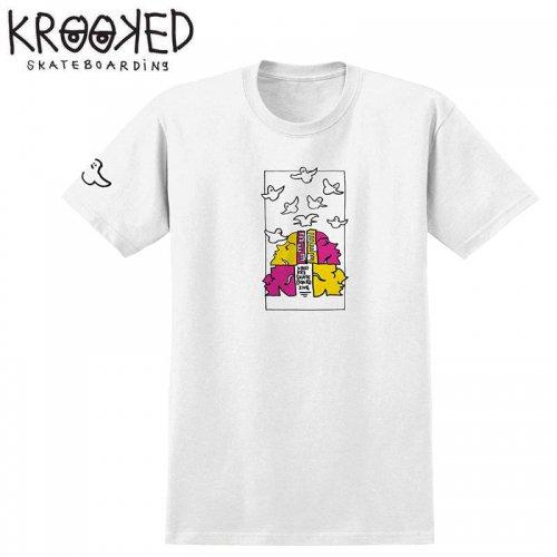 半額セール【KROOKED クルックド スケートボード Tシャツ】QWUATRO S/S TEE【ホワイト】NO108