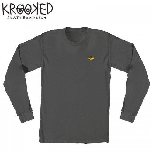 半額セール【KROOKED クルックド スケボー ロング Tシャツ】EYES EMBROIDERY L/S TEE NO8【チャコール】