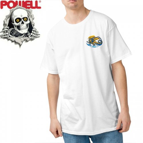【パウエル POWELL スケボー Tシャツ】OVAL DRAGON TEE【ホワイト】NO71