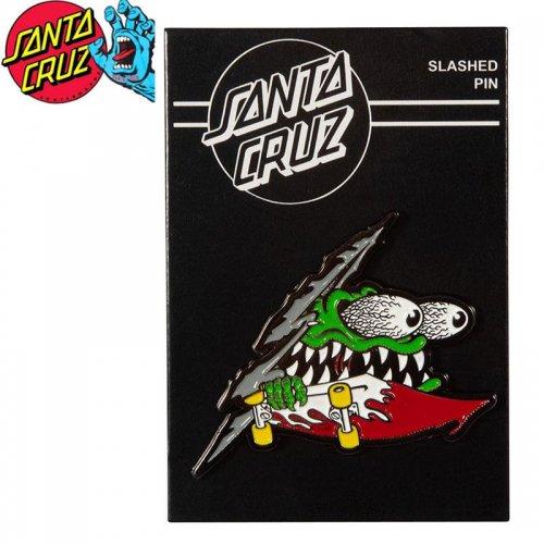 【サンタクルーズ SANTA CRUZ スケボー バッヂ】SLASHED PUSH BACK PIN 4.6cm×5.3cm NO22