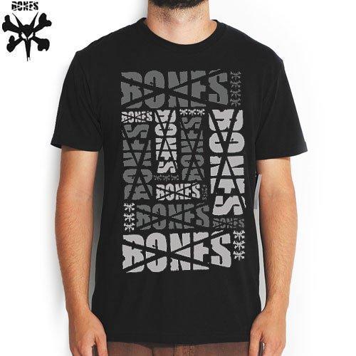 【BONES ボーンズ スケボー Tシャツ】STACKED TEE【ブラック】NO5