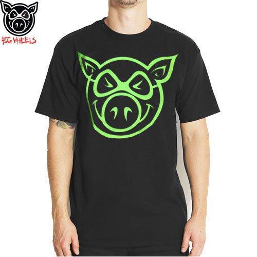 SALE! 【ピッグ PIG WHEELS スケボー Tシャツ】BASIC SLIM-FIT TEE【ブラック x ネオン】NO5