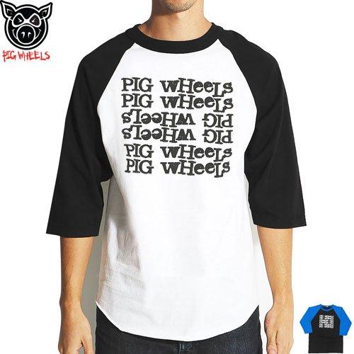 【ピッグ PIG WHEEL スケボー Tシャツ】TRICK JEALOUSY 3/4 7分TEE【ホワイト】【ブラック】NO9