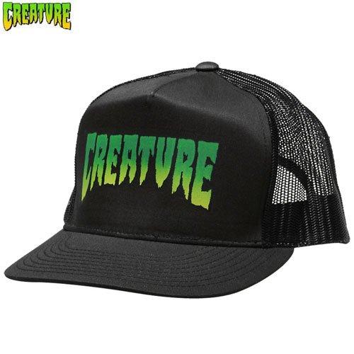 【クリーチャー CREATURE スケボー キャップ】LOGO MESH TRUCKER HAT【ブラック】NO11