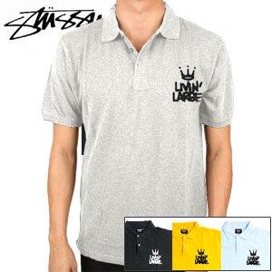 【ステューシー STUSSY ポロシャツ】LIVIN'LARGE POLO【グレー・ブラック・イエロー・Lブルー】NO1