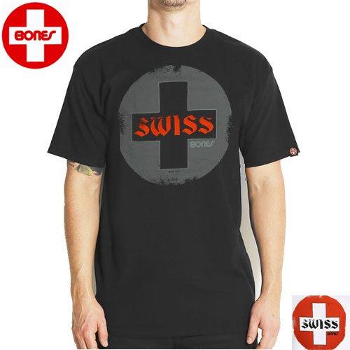 【ボーンズ BONES スケボー Tシャツ】SWISS CIRCLE 2【ブラック】【ホワイト】NO10