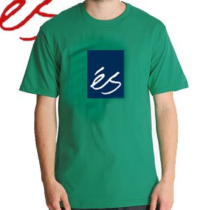 【エススケートボード ES FOOTWEAR スケボー Tシャツ】Mainblock 09【ケリーグリーン】NO22
