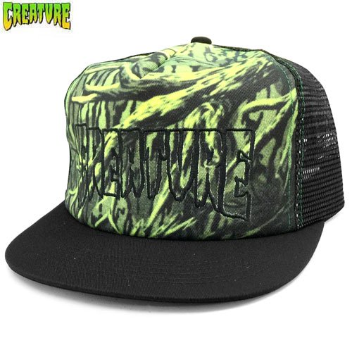【クリーチャー CREATURE スケボー キャップ】HUNTED ADJUSTABLE BALL MESH CAP【ブラック x グリーン】NO13