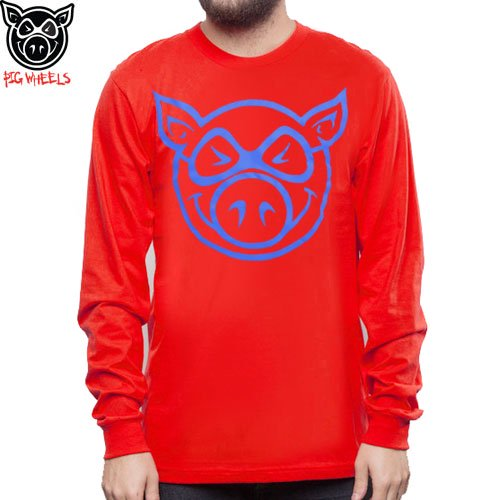 【ピッグ PIG WHEELS スケボー ロンTシャツ】BASIC LONG SLEEVE TEE【レッド】NO3