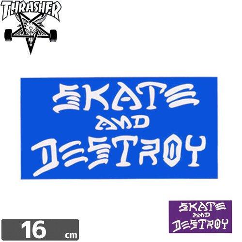 【スラッシャー THRASHER スケボー ステッカー】USモデル SKATE AND DESTROY【2色】【8.7cm x 16cm】NO21