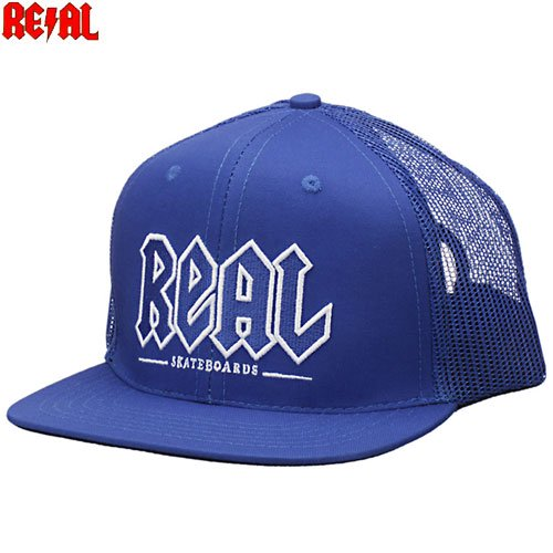 【リアル REAL SKATEBOARDS スケボー キャップ】REAL DEEDS TRUCKER HAT【ブルー】NO7