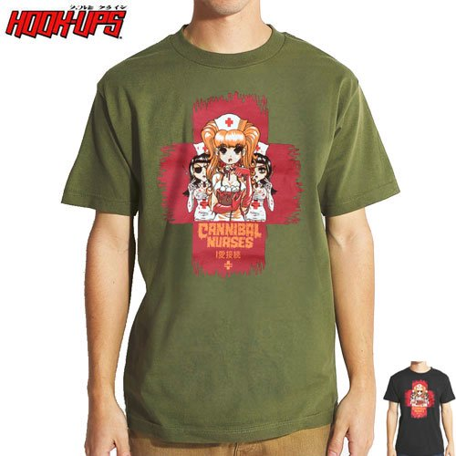 【HOOK UPS フックアップ スケボー Tシャツ】CANNIBAL NURSES TEE【ブラック】【カーキ】NO29