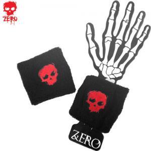 【ゼロ ZERO スケボー リストバンド】BLOODY SKULL WRISTBANDS【ブラック x レッド】NO1