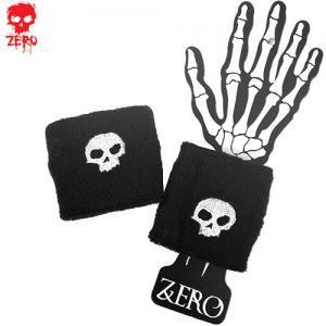 【ゼロ ZERO スケボー リストバンド】WHITE SKULL WRISTBANDS【ブラック x ホワイト】NO2